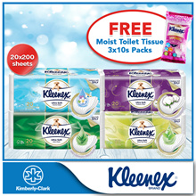 Kleenex Clean Care Bathroom Rolls 3Ply [FREE Kleenex Moist Toilet Tissue 3packs x 10s]