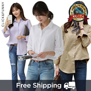 CLICKnFUNNY Basic Shirt 10color / Stripe ✈Free Shipping from Korea