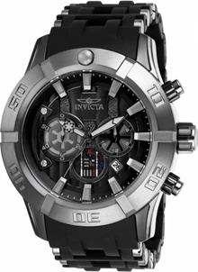 Mens Star Wars Chronograph Polyurethane and Stainless Steel Black Dial