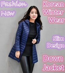 Fashion New Korean Down Jacket winter wear slim design women ultra light hoodie jacket waterproof