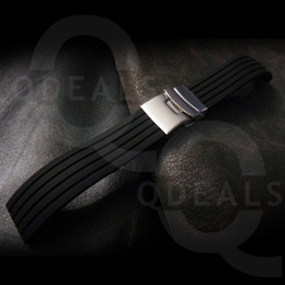 [SINGAPORE SELLER] Rubber Watch Strap Watch Band High Quality Black Silicon Strap Groove Line Motorsports Diver