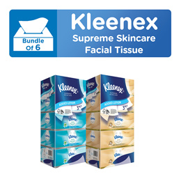 [BUNDLE of 6] Kleenex Supreme Skincare 3PLY Facial Tissues 5 x 80s - Silky Soft / Moisturising Touch