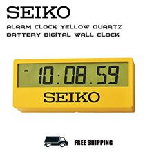 Seiko QHL073Y  Alarm Clock Yellow Quartz Battery Digital Wall Clock