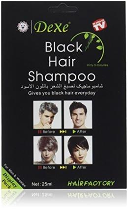 Dexe Instant Hair Dye - Black Hair Shampoo - (3) Black Color - Simple to Use - Last 30 days - Natura