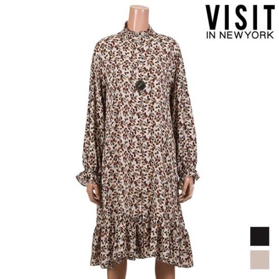 [ビジットニューヨーク]カラフル葉のパターンワンピース_VUAOP27 面ワンピース/ 韓国ファッション