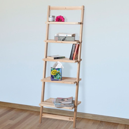 Five-Tier Ladder Blonde Wood Storage Shelf