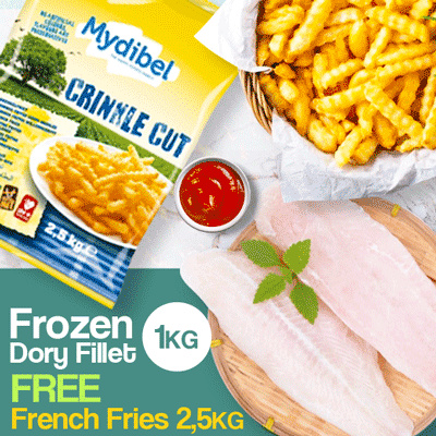 PROMO BUNDLING..!! DORY FILET FROZEN 1KG+CRINKLE CUT 2.5KG Deals for only Rp157.000 instead of Rp157.000