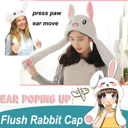Plush Bunny Hat Rabbit Cap with The Ears Popping Up Cut Animal Hat Halloween Gift Cosplay