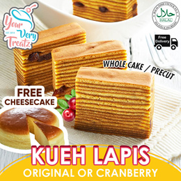 Original Or Cranberry Flavor KUEH LAPIS!! 1 Whole Cake Plus Free Cheesecake