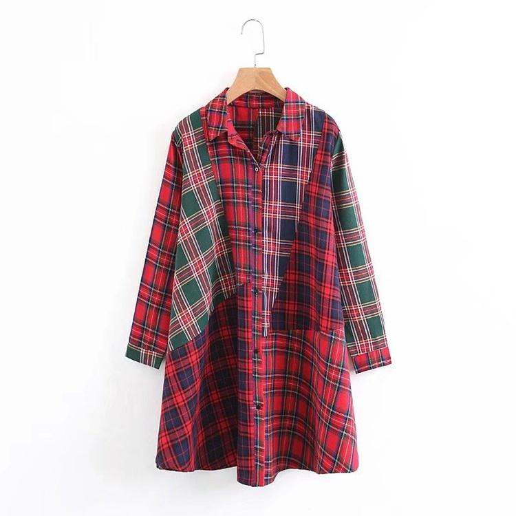 2018春の新型、長袖、潮、欧米、ゆったり、中に長いシャツ