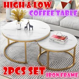 Korea fashion Steel frame coffee table organizer storage basket furniture Marble patterned wood