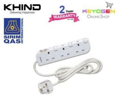 Khindkhind 3 Gang Trailling Socket Extension Cord Ln8133w Fused 2 Year Warranty