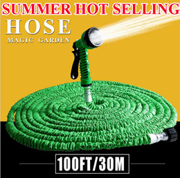 SUMMER 2016 Hot Selling 125FT Expandable Magic Flexible Garden Hose For Car Water Pipe Plastic Hoses To Watering With Spray Gun Green