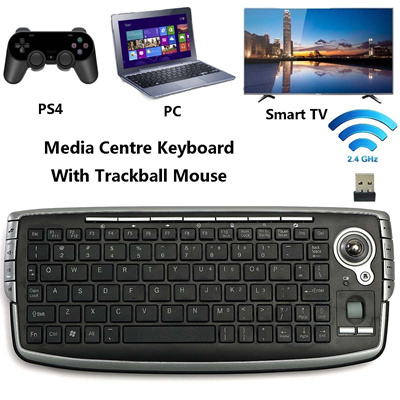 Wireless 2 4GHZ Media Centre Keyboard With Trackball Mouse For PC PS4 Smart  TV
