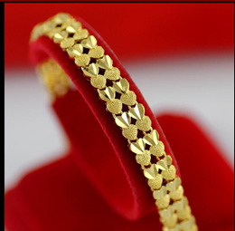 Gold-plated double love bracelet new European currency 24k Vietnam sand gold bracelet female transfe