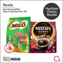 [NESTLÉ®] Healthier Choice Bundle (MILO® GAO KOSONG Refill Pack 750g/Kopi O Gao Siew Dai 15s)