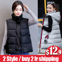 【buy 2 fr shipping】2018 new autumn winter vest women waistcoat thickening hooded solid cotton vest f