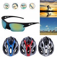 Adjustable Mountain Bicycle Road Bike Cycling Helmet Pair With Sunglasses