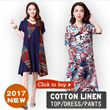 【20/3 BIG PROMO】High Quality Japanese Linen Apparels Cotton Dress Japan Linen / Plus Size Dress