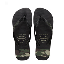 Havaianas Top Stripes Logo 0461 (Black/Olive Green) [Unisex]