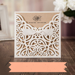 10Pcs/lot Lace Pocket Wedding Invitations Cards Square Laser Cut Rose Flower Greeting Card Invitatio