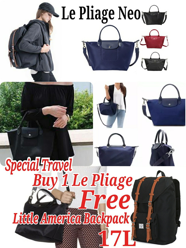 Longchamp || Le Pliage Néo ||Buy 1 Get 1 Free Little America Backpack! || Travel Bag|| Woman Bag Deals for only Rp1.199.000 instead of Rp1.199.000