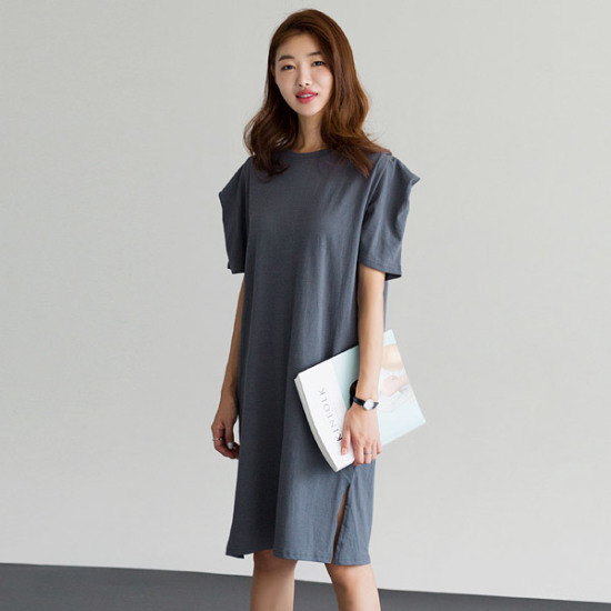 るみさんショルダー・パフコットン・ワンピース 綿ワンピース/ 韓国ファッション