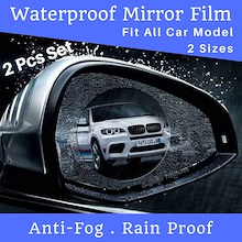 [Set of 2pcs] Car Rear view Mirror Waterproof Membrane Anti-fog Rain Proof Film Sticker Drive Safer