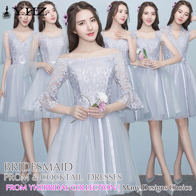 81d89f846b Grey Silver Bridesmaid Dress Short Semi Prom Dress Cocktail Party Dress  Formal Dress Holiday Dress