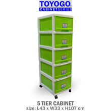[802-5]TOYOGO PLASTIC STORAGE CABINET/DRAWER WITH WHEELS (5-TIER)