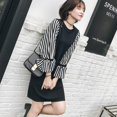 限定プライス❕袖ストライプがアクセントに♡ドッキングワンピース・韓国ファッション・シフォンワンピース