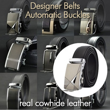 Over 5000reviewS! 2018 Mens Automatic Buckle Genuine Belt/ Business Black Belts/ Cowhide Leather