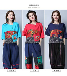 Loose national wind embroidery blouses