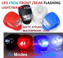 [Enhand your Bicycle Now!] Lightweight Waterproof Safety Silicon 2 LEDs Frog Lamp - 4 Colours with different colour lights to choose from. 3-Modes working lights