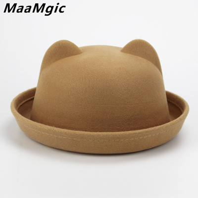 shop Kids wool felting Bowler hat for girls boys fedora hats Dome cap  Children s Cute 75c6c57dca8