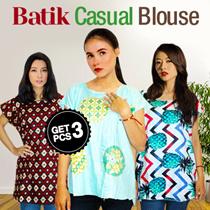 Get 3 Pcs Casual Blouse + Midi Batik Dress / Sleeping Cloth / Piyama / Batik Tops - Best Seller Ever