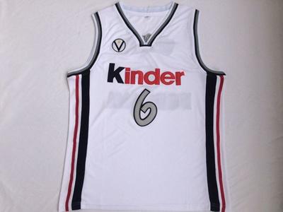 official photos d6450 16950 Manu Ginobili 6 Virtus Kinder Bologna European Basketball Jersey White  Stitched Retro Mens Shirts