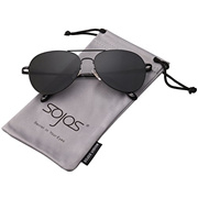 b1a56698db3 COUPON · SojoS Classic Aviator Mirrored Flat Lens Sunglasses Metal Frame  with Spring Hinges SJ1030
