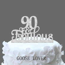 90th And Fabulous Cake Topper 90th Birthday Party Decoration   Acrylic Birthday Cake Topper  90th An