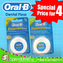 [Special Price for 4] Oral-B Essential Waxed Dental Floss 50m -  Original / Mint [Made in UK]