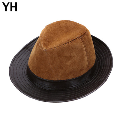 37f2cf005fe 2018 Men Real Genuine Sheepskin Leather Cowboy Hats Fashion New Style Real  Natural Leather Cap Hat