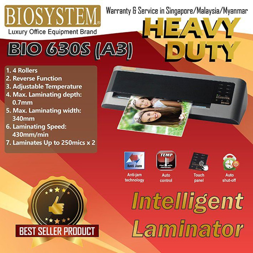 [S$389.00](▼36%)[Biosystem]Biosystem Office Use Heavy Duty Laminator 630C / A3 Size / Cool and Heat / SG Warranty / Authentic