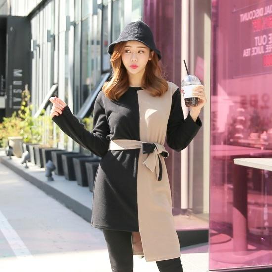 クルリクエンミオンバル配色ワンピース プリントのワンピース/ 韓国ファッション