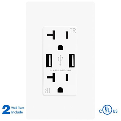 TOPELE 3 6A Smart Fast Tamper Resistant USB Wall Outlet, 20Amp Duplex  Receptacle, 3 6A USB Receptacl