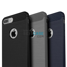 Shockproof Slim Fit Silicon Rugged Surface Case Carbon Fiber Accent iPhone 5 5s SE 6 6s 7 8 Plus