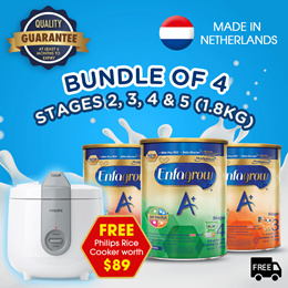 [Bundle of 4] Enfagrow A+ Baby Milk Powder Stage 2/3/4/5 -1.8kg +Free Philips Rice Cooker worth $89!