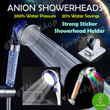 Purifying Filter Anion SPA Showerhead LED Water Saving Conservation 300% Pressure! Strong Holder