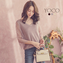 YOCO - V Neck Cut-Out Lace Sleeve Knit Top-181527-Winter