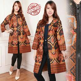 Midi Dress Batik Blazer Outware Cyndy Jumbo