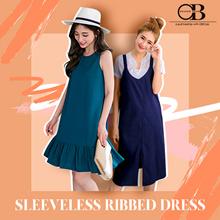 WEEKEND X OB CLUB ★ PREMIUM DRESSES ★ RUFFLE HEM STRETCH RIBBED DRESS ★ S-XXXL ★